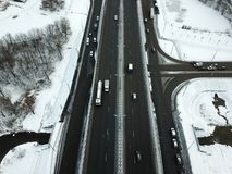 Aerial view of winter snowy road in Moscow. Russia Stock Photos
