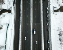 Aerial view of winter snowy road in Moscow Royalty Free Stock Photo