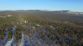 Aerial view of winter Taganay Mountains ridge stock video