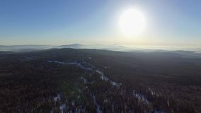 Aerial view of winter Taganay Mountains ridge stock footage