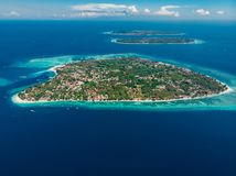 Free Aerial View With Gili Islands And Blue Ocean. Gili Air, Meno With Trawangan Stock Photography - 160749432