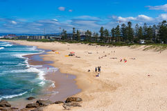 Aerial view of Wollongong beach with unrecognisable people relax stock photography
