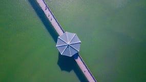 Aerial view of Wolyeonggyo wooden bridge at Andong city, South K royalty free stock photos