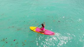 Aerial view of woman on stand up paddle board in blue ocean. Aerial view of woman on stand up paddle board in ocean stock video