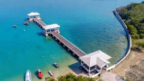 Aerial view of wood waterfront pavilion in Koh si chang island, Thailand. AsDang Bridge Stock Photos