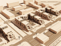 Aerial view on a wooden model Stock Images