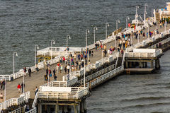 Aerial view of the wooden pier in  Sopot Stock Images