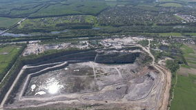Aerial view of work in a mining career. stock footage