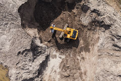 Aerial view of the working earth mover Royalty Free Stock Photography