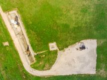 Top view working pump jack pumping crude oil in La Grange, Texas royalty free stock photos