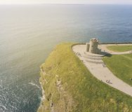 Aerial view of the world famous cliffs of moher in county clare stock photography