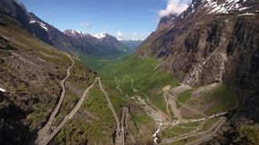 Aerial view of world famous mountain road Trollstigen stock video footage