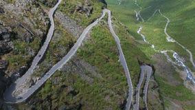 Mountain road Trollstigen. Aerial view of world famous mountain road Trollstigen stock video footage