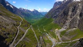 World famous mountain road Trollstigen stock video footage
