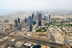 Aerial view of World Trade center in Dubai Stock Photos