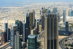 Aerial view of World Trade center in Dubai Royalty Free Stock Photo