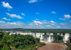 Aerial view of the worlds largest and most impressive waterfalls in Iguacu National Park Stock Photo