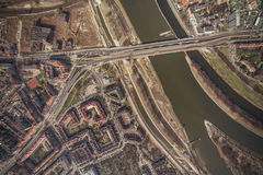 Aerial view of Wroclaw city center Stock Photo
