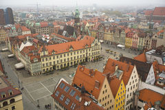 Aerial view Wroclaw old town square. Royalty Free Stock Photography