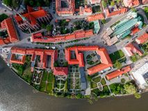 The aerial view of Wroclaw: Ostrow Tumski, Cathedral of St. John the Baptist and Collegiate Church of the Holy Cross and St. Barth. Olomew royalty free stock photos