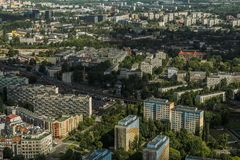 Aerial view of Wroclaw town in Poland. In summer from high point Royalty Free Stock Photo
