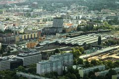 Aerial view of Wroclaw town in Poland. In summer from high point Stock Images