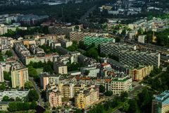 Aerial view of Wroclaw town in Poland. In summer from high point Stock Photography