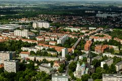 Aerial view of Wroclaw town in Poland. In summer from high point Royalty Free Stock Photos