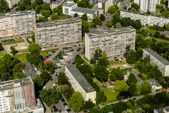 Aerial view of Wroclaw town in Poland. In summer from high point Stock Photos