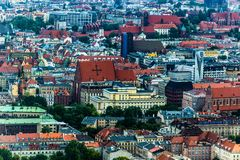 Aerial view of Wroclaw town in Poland. In summer from high point Stock Photo