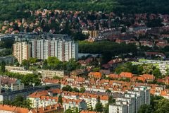 Aerial view of Wroclaw town in Poland. In summer from high point Royalty Free Stock Photography