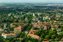 Aerial view of Wroclaw town in Poland. In summer from high point Royalty Free Stock Image