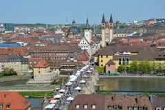 Aerial view on Wuerzburg with the. `alte Mainbruecke` and the cathedral on a sunny day and blue sky Stock Photo