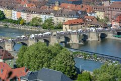 Aerial view on Wuerzburg with the. `alte Mainbruecke` close up on a sunny day and blue sky Royalty Free Stock Photography