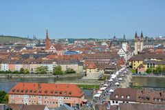 Aerial view on Wuerzburg with the. `alte Mainbruecke` and the Marien chapel on a sunny day and blue sky Stock Image