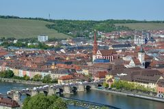 Aerial view on Wuerzburg with the. `alte Mainbruecke` and the Marien chapel on a sunny day and blue sky Royalty Free Stock Images