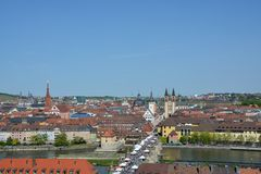 Aerial view on Wuerzburg with the. `alte Mainbruecke` and the Marien chapel on a sunny day and blue sky Royalty Free Stock Image