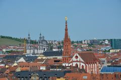 Aerial view on Wuerzburg with the Marien chapel on a sunny day. And blue sky Royalty Free Stock Images