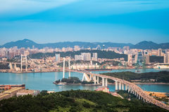 Aerial view of xiamen at dusk Royalty Free Stock Photo
