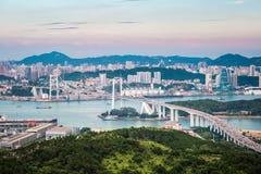 Aerial view of xiamen haicang bridge at dusk Royalty Free Stock Photo