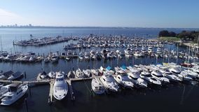 Aerial drone video view of Yacht Boat Marina set on Swan River in western Australia