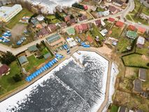 Aerial view of Yacht Club Arcus in Rajgrod. Aerial winter view of Yacht Club Arcus in Rajgrod, Poland royalty free stock images