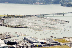 Aerial view on yacht harbor of Auckland Royalty Free Stock Photo