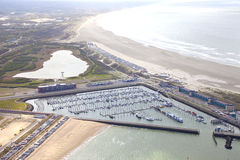 Aerial view of yacht harbor with beach of IJmuiden Royalty Free Stock Images