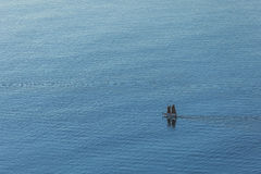 Aerial view of yacht on ocean Royalty Free Stock Photo