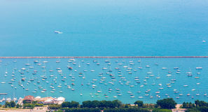 Aerial view of the yacht parking. Stock Photos