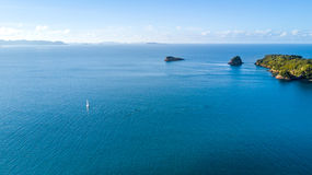 Aerial view on a yacht racing along tiny island ocean on sunny day. Coromandel Peninsula, New Zealand Stock Images