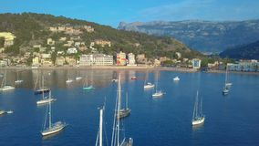 Aerial view. Yacht and sailboats moored at the quay stock footage