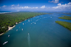 Aerial view of yachts Royalty Free Stock Photography