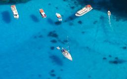 Aerial view of yachts in azure sea Stock Photography